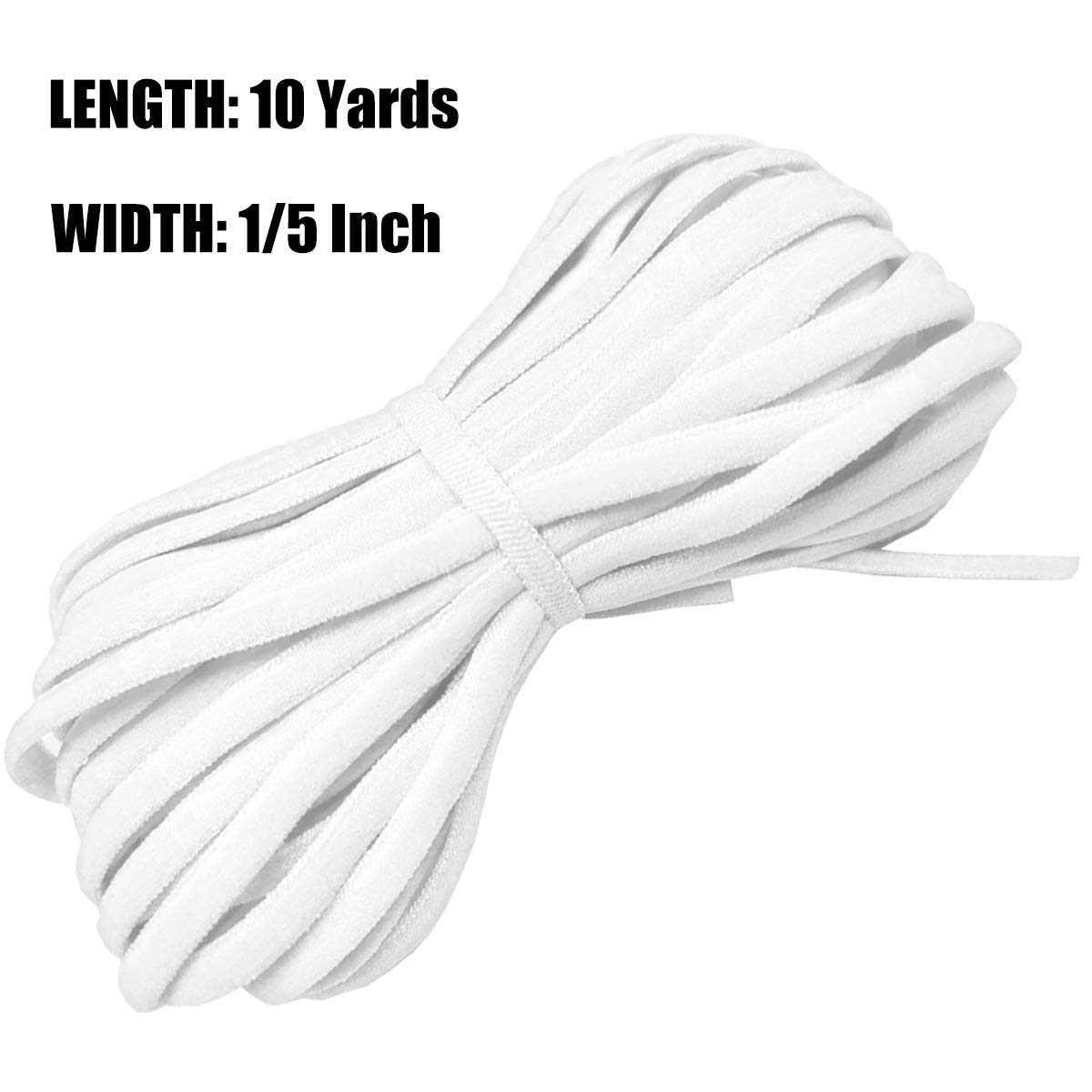 Elastic Band, Braided Stretch Strap Cord Roll for Sewing and Crafting (1/5 inch 5mm 10 Yards, White)