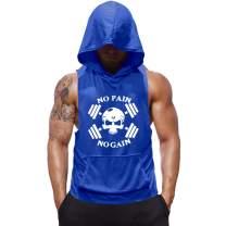 SZKANI Mens Skull Print Sleeveless Fitness Vest Bodybuilding Stringers Workout Tank Tops