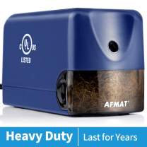 Electric Pencil Sharpener for Colored Pencils, AFMAT Classroom Pencil Sharpener for 6.5-8mm No.2 Pencils, UL Listed Heavy Duty Pencil Sharpener w/Stronger Helical Blade, Colored Pencil Sharpener-Blue