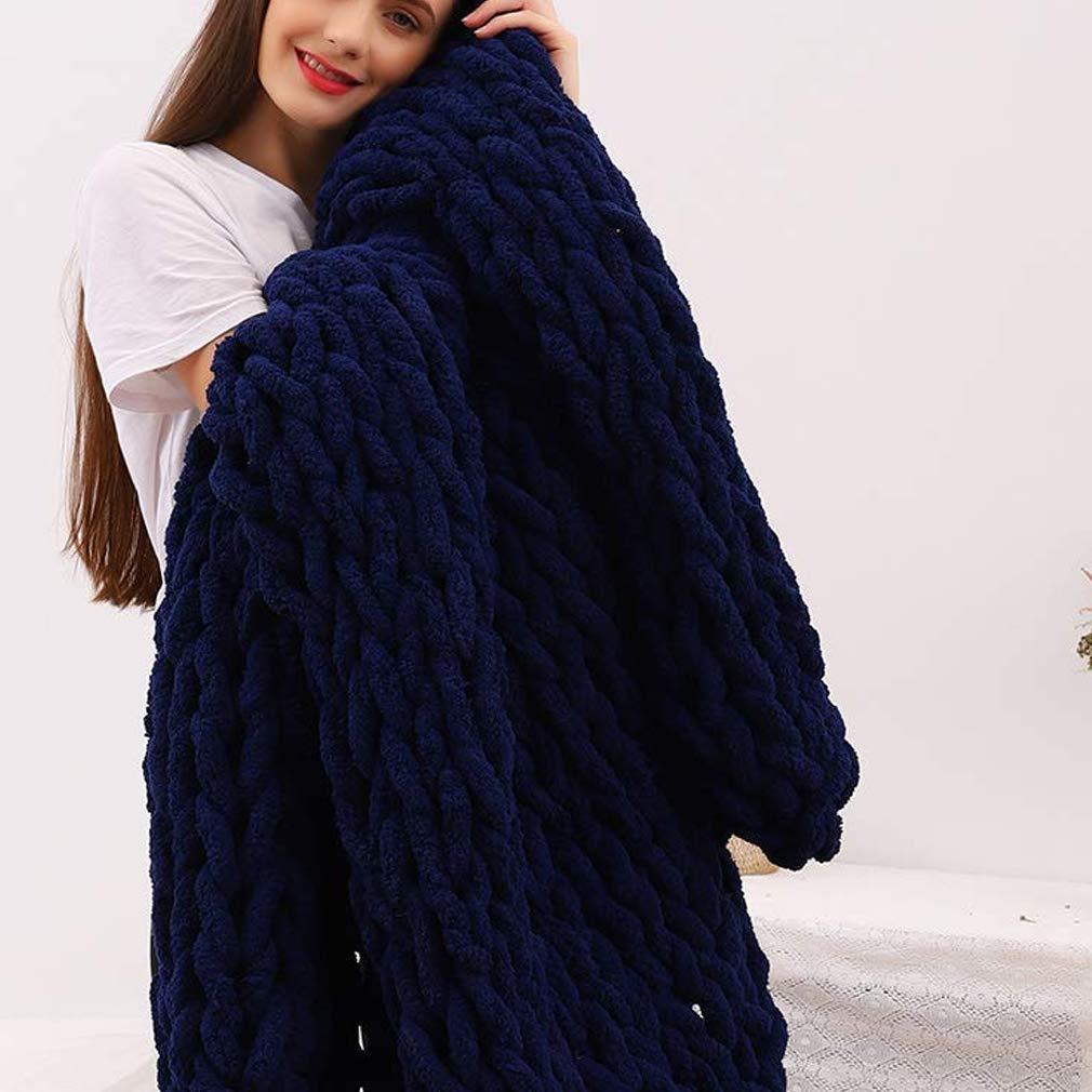 DCZTELG Handmade Chunky Knit Blanket Throw Bulky Knitting Blanket Chenille Blankets Soft Cozy Polyester (K-Navy Blue, 49x69in(130170cm))