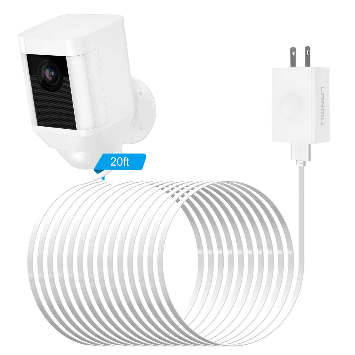 LANMU Power Adapter for Ring Spotlight Cam Battery,with 20ft Weatherproof Outdoor Power Cable Cord and Charger,No More Charging Your Batteries (White)