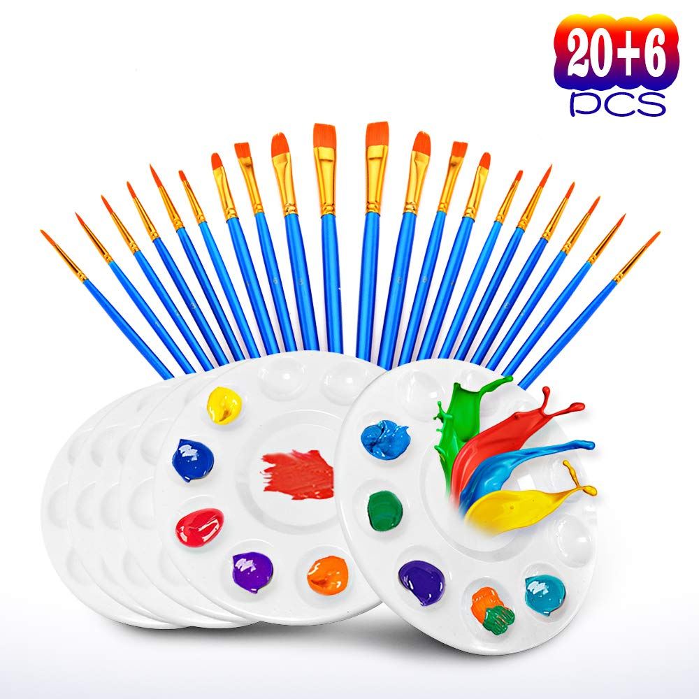 20 Pcs Paint Pallet Brushes with 6 Pcs Paint Trays for Kids and Adults to Painting or Have a Birthday Painting Party