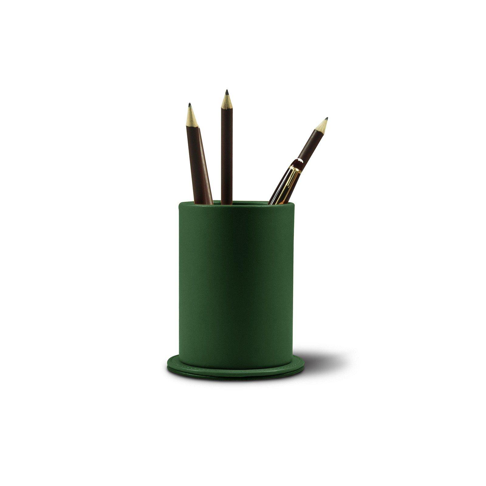 Lucrin - Round Pen Holder - Dark Green - Genuine Leather