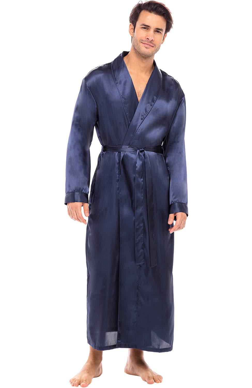 Alexander Del Rossa Men's Lightweight Satin Robe, Long Kimono