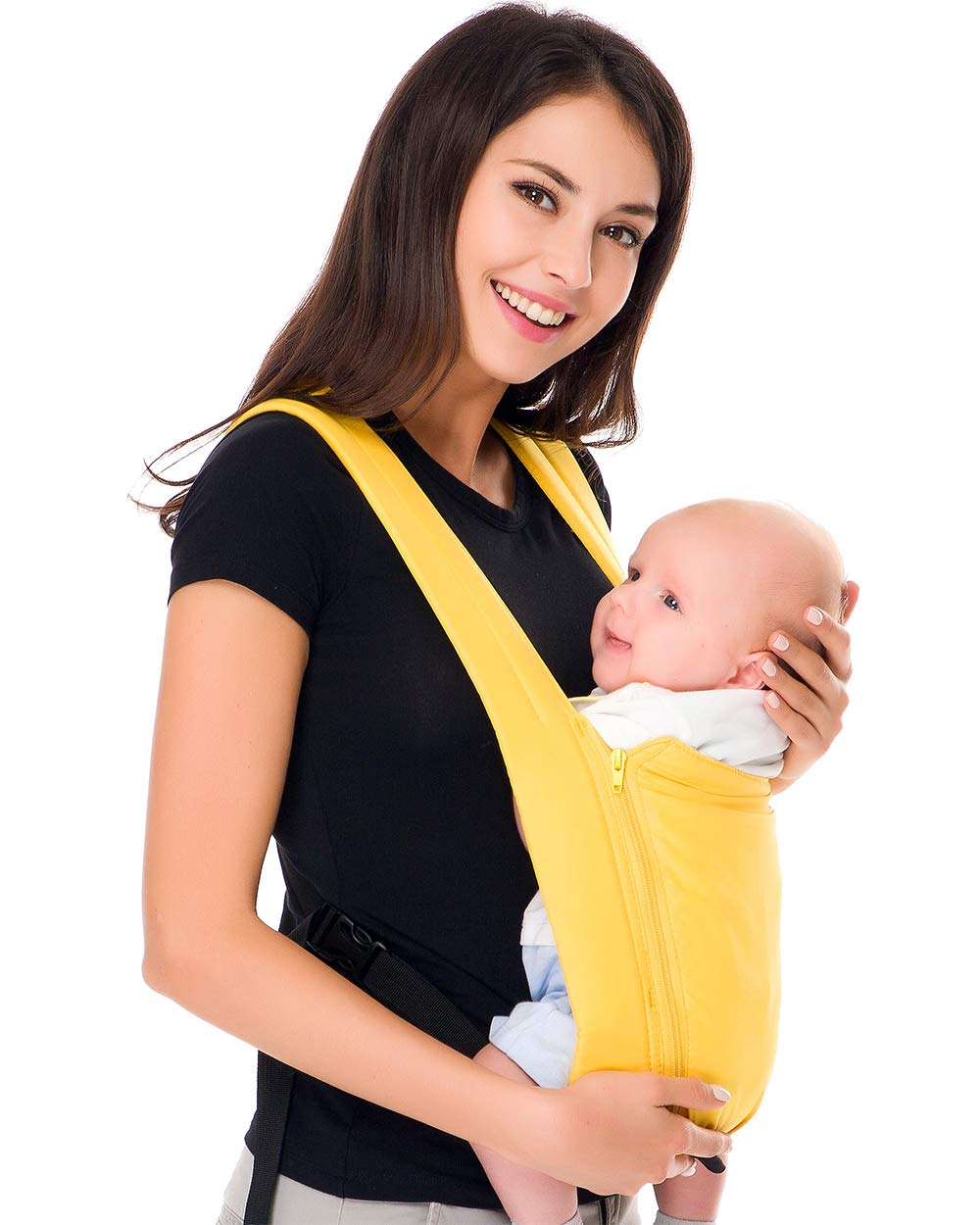 Cuby Ergonomic Baby Carrier,Classic Carrier, Soft & Breathable Baby Carriers Backpack Front and Back for Infants to Toddlers Up to 36 lbs (Yellow)