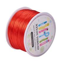 PH PandaHall 1 Roll 1mm x 100yards Red Rattail Satin Nylon Trim Cord Chinese Knot for Necklace Bracelet Beading Kumihimo Crafting Macrame