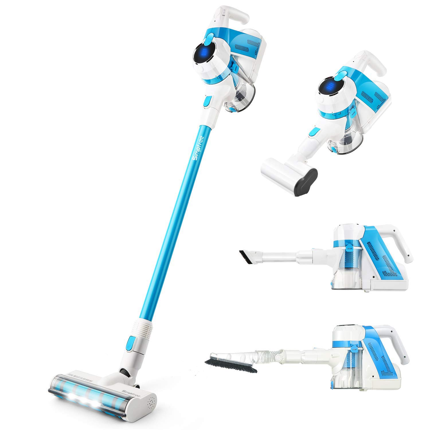 SIMPFREE Cordless Vacuum, Lightweight Cordless Stick Vacuum with Electric Hose & LED Brush, Free Two Rechargeable Lithium Ion Battery, Hand Vacuum for Carpet & Hardfloor - 5 in 1 Vacuum (5 in 1-V12)