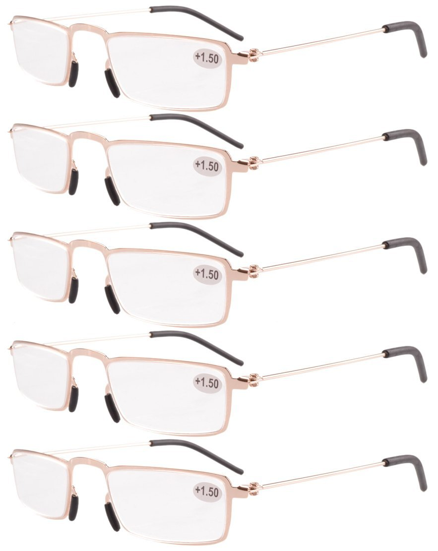 Eyekepper 5-Pack Straight Thin Stamped Metal Frame Half-Eye Style Reading Glasses Readers Gold +4.0