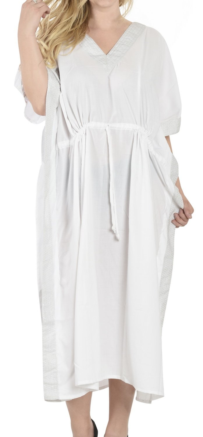 LA LEELA Women's Caftan Beach Cover Up Night Casual Evening Dress Embroidered