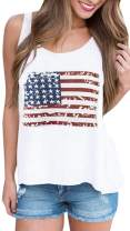 For G and PL Women's July 4th Patriotic Cotton Tank Tops American Flag Star Striped Sleeveless Shirt US XL