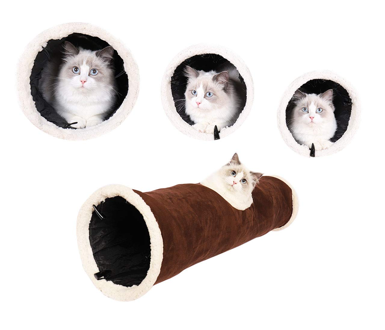PetLike Cat Tunnel Pop-up Collapsible Crinkle Paper Pet Tube Interactive Play Toy with Peekaboo Holes