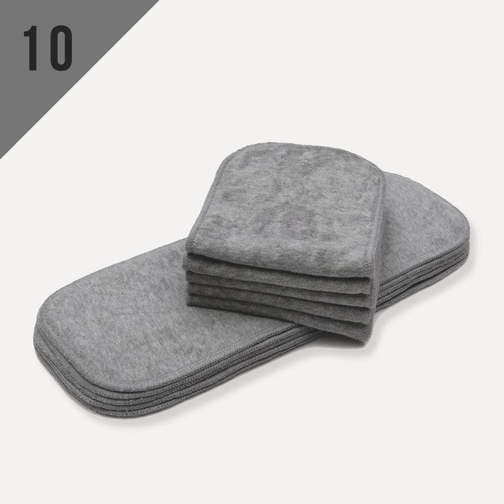 KaWaii Baby Bamboo Charcoal Inserts for 6-22 lbs Cloth Diapers, 3-Layered Bamboo Charcoal Inserts, Cloth Diaper Inserts (NO Microfiber OR Fleece), Cloth Diaper Inserts - Pack of 10.