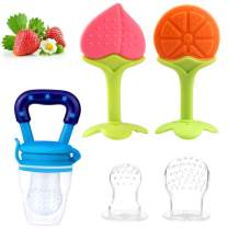Tinabless Baby Food Feeder Pacifier, Fresh Food Feeder and Baby Teething Toys Set Bonus Includes 3 Sizes Silicone Pouches, BPA-Free, Natural Organic Teethers for 3-24 Months Infant and Toddlers