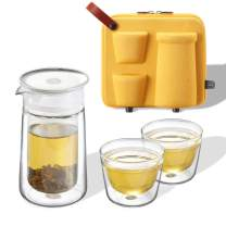 ZENS Travel Tea Set Glass, Portable Teapot Infuser Set for Loose Tea, 160ml Double Wall Tea Pot and 2 Teacup with Eva Case for Travel Picnic or GIF,Yellow