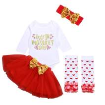 My First Valentine's Day Outfit Newborn Baby Girls Romper Top + Tutu Skirt + Leg Warmer + Headband Clothes Set