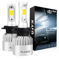 H7 LED Headlight Bulbs, 3 Years Warranty, KASO RX2 All in One Conversion Kit Fog Lights H7 8000Lm 72W/Set 6500K Cool White Highly Waterproof (H7)
