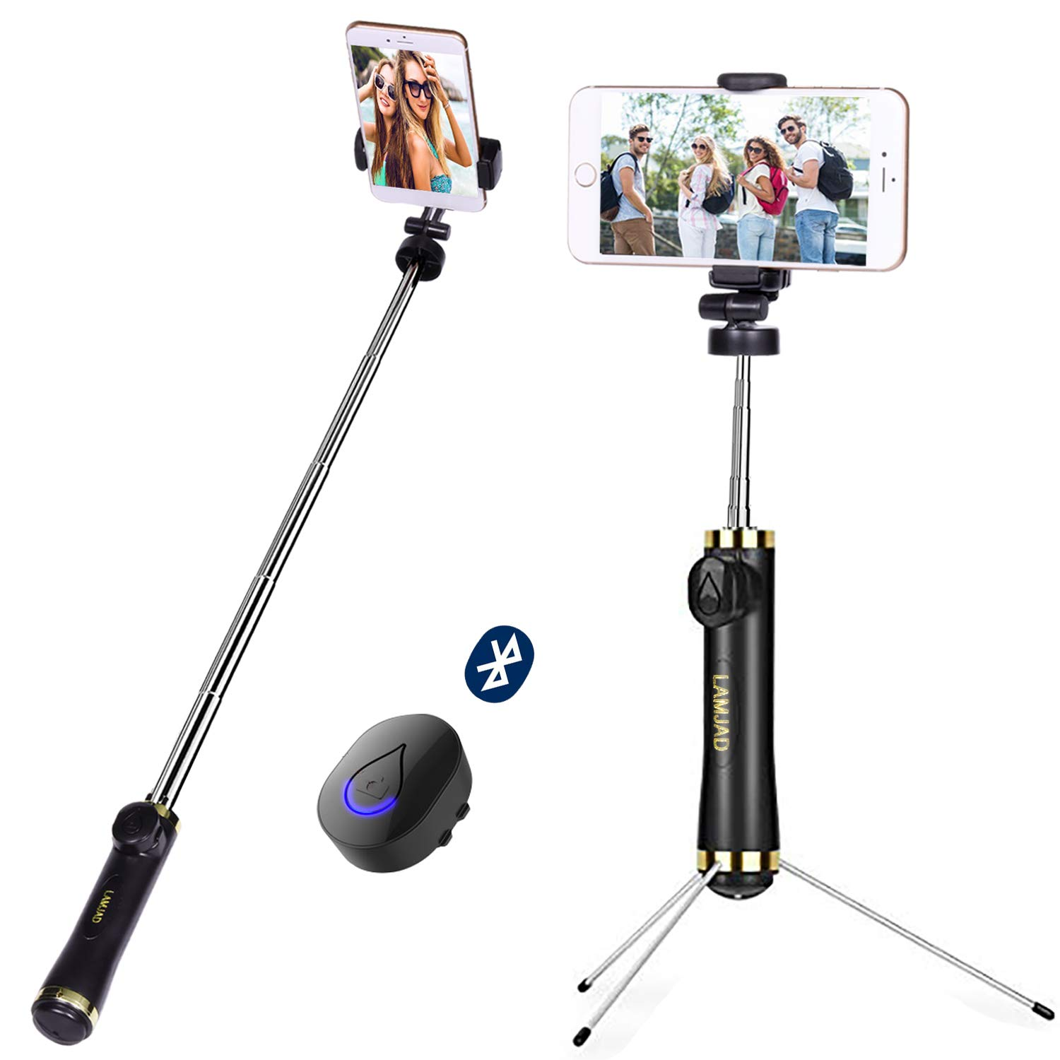 Selfie Stick, LAMJAD Extendable Selfie Stick Tripod with Wireless Remote and Tripod Stand Selfie Stick for iPhone 11 XS XSmax XR X 8 8P 7 7P 6s 6 5, Galaxy S9 8 7 6 Note, Android Smartphone