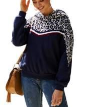 AKEWEI Hoodies for Women Leopard Print Hooded Sweatshirts Sherpa Pullover S-XL