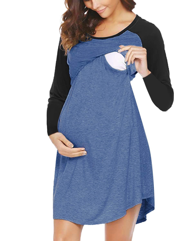 SUNNYME Women's Maternity Dress Nursing Nightgown for Breastfeeding Soft Nightshirt Sleepwear Nightdress