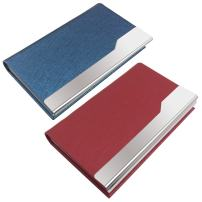 SENHAI 2 Pcs Professional Business Card Holders, Stainless Steel + PU Leather Card Case with Magnetic Shut for Men and Women - Red, Blue
