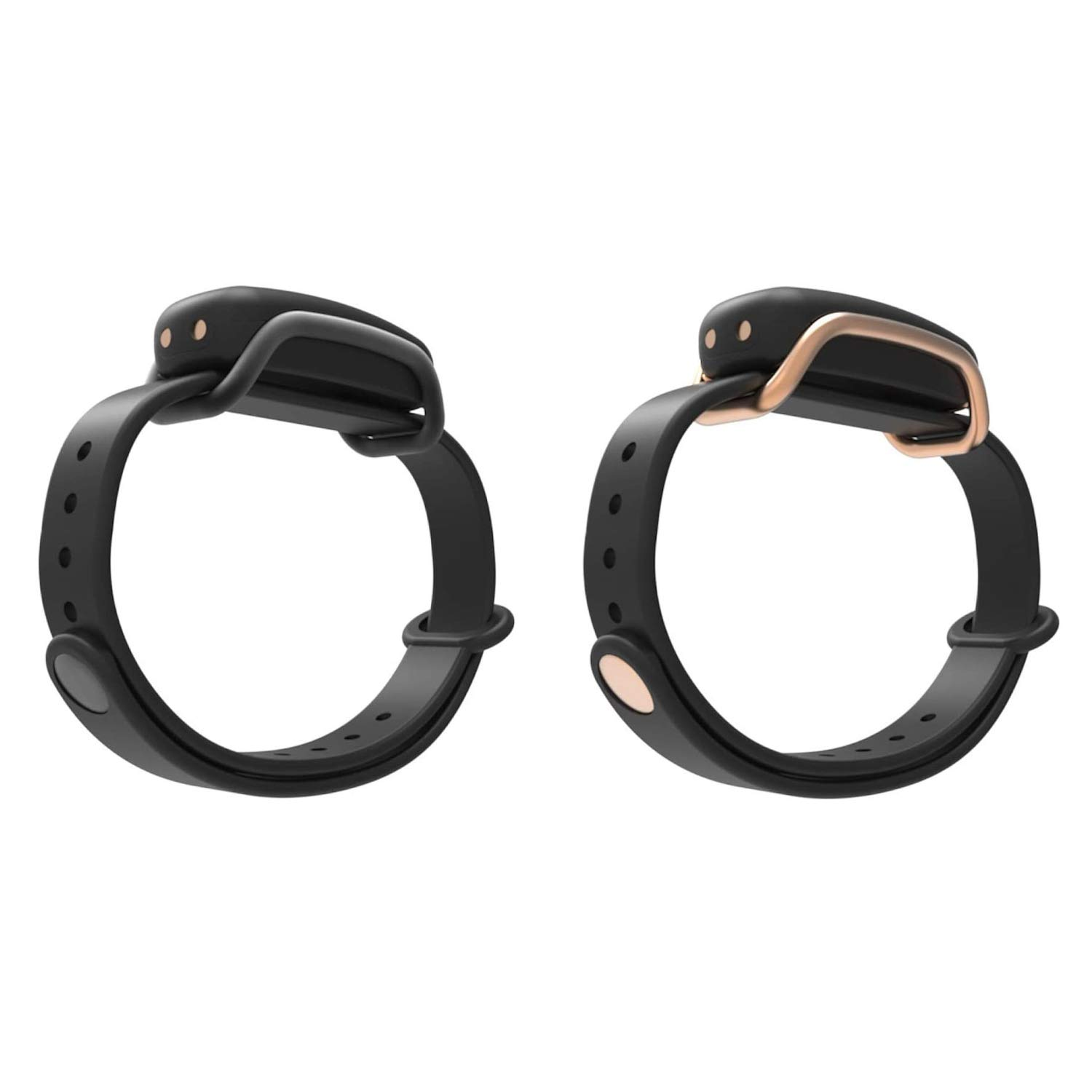 BOND TOUCH Vibrating Waterproof Bluetooth Long Distance Connection Bracelet with 4 Day Battery Life for iOS and Android Devices, Black and Gold (2 Pack)