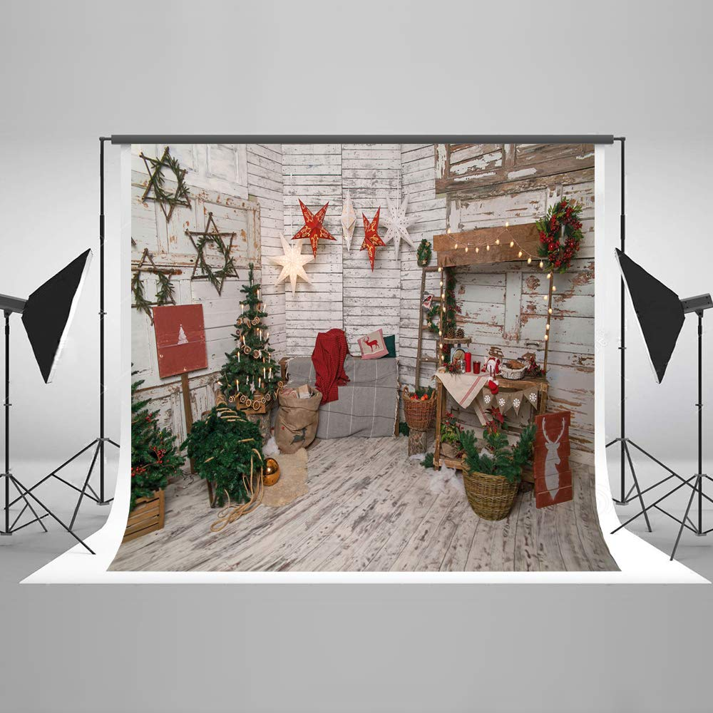 Kate 7×5ft Interior Christamas Room Photography Backdrop Wood Christmas Background with Stars Home Xmas Backdrop for New Year Christmas Decoration