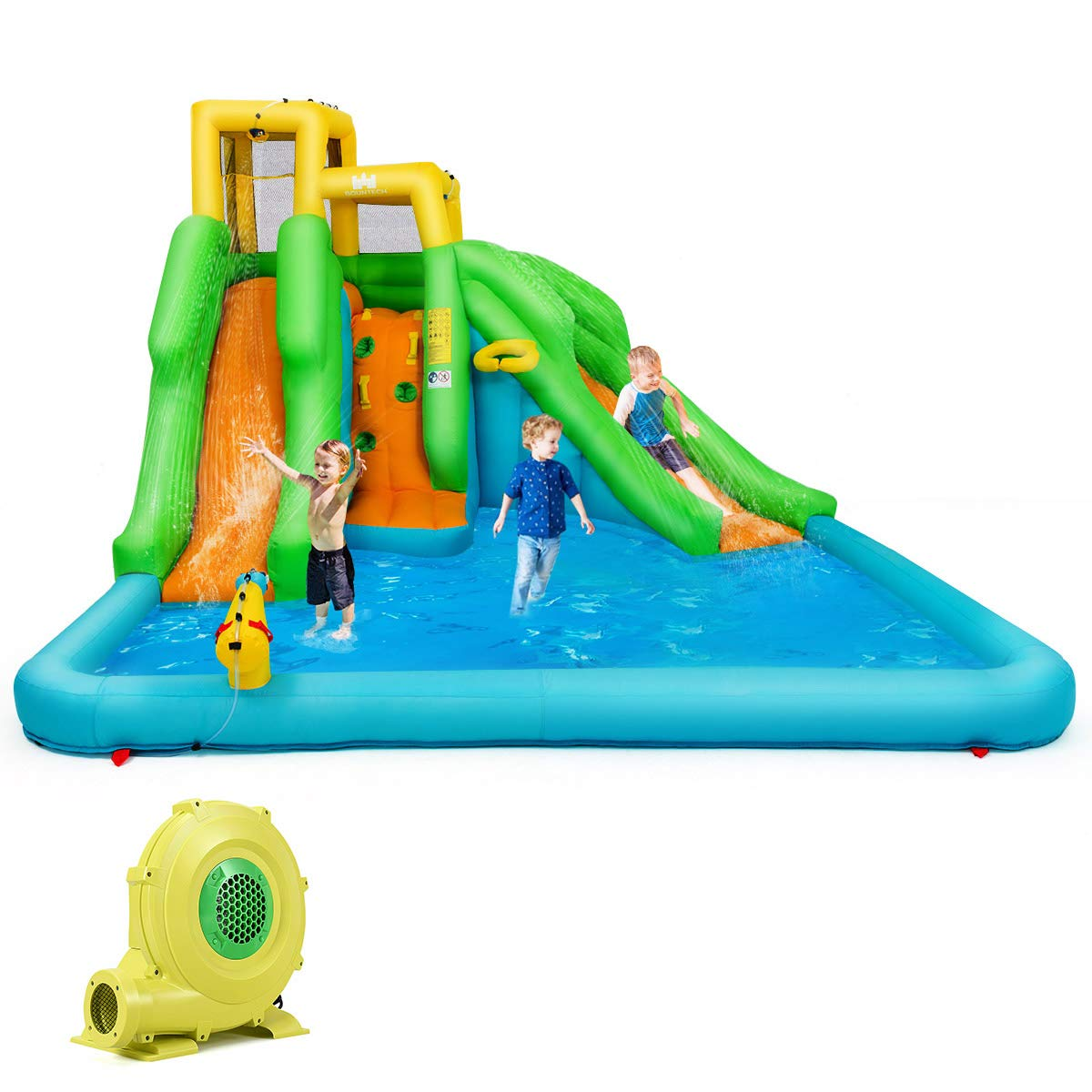 BOUNTECH Inflatable Bounce House, Mighty Water Pool with Two Slides, Climbing Wall, Basketball Rim, Splash Pool, Water Cannon, Including Carry Bag, Repairing Kit, Stakes, Hose (with 480W Air Blower)