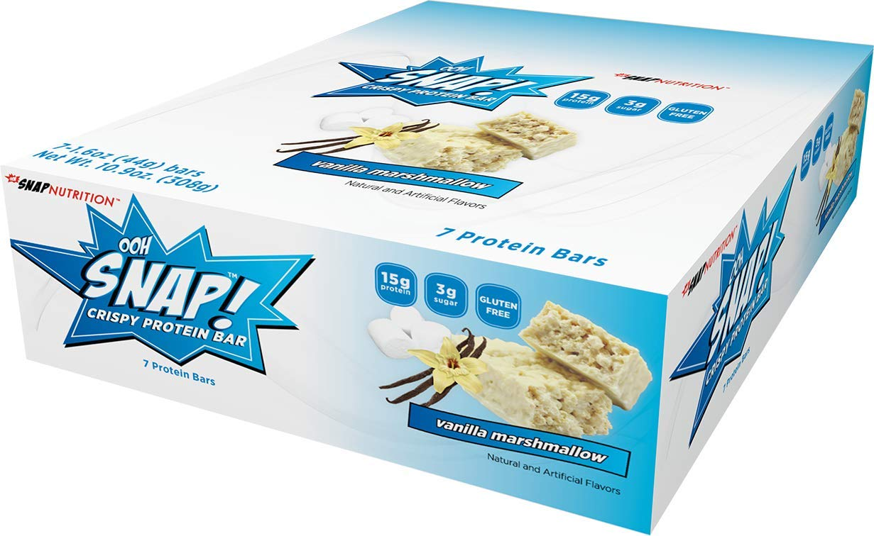 Ohh Snap Nutrition Gluten Free Crispy Protein Bar, Natural and Artificial Vanilla Marshmallow Flavors – 7 Count Box