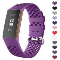 DEKER Sport Bands Compatible for Fitbit Charge 3 Bands Charge 3 SE Fitness Tracker Women Men, Breathable Holes Silicone Smart Watch Strap Small Large Accessories Wristbands (01-Berry, Large)