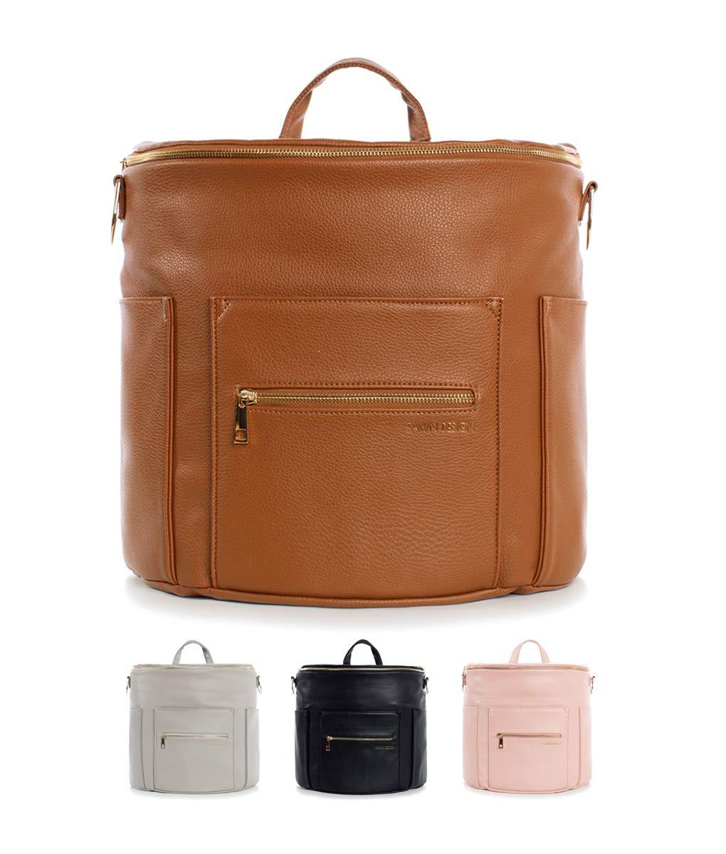Fawn Design Premium Vegan Leather Diaper Bag and Backpack (Brown 2.0)