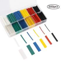 Color Heat Shrink Tubing kit 2:1, 500pcs Wire Insulation Flame Retardant Shrink Wrap Tubing Assortment Electrical Wire Cable Wrap (12 Sizes/6 Colors)