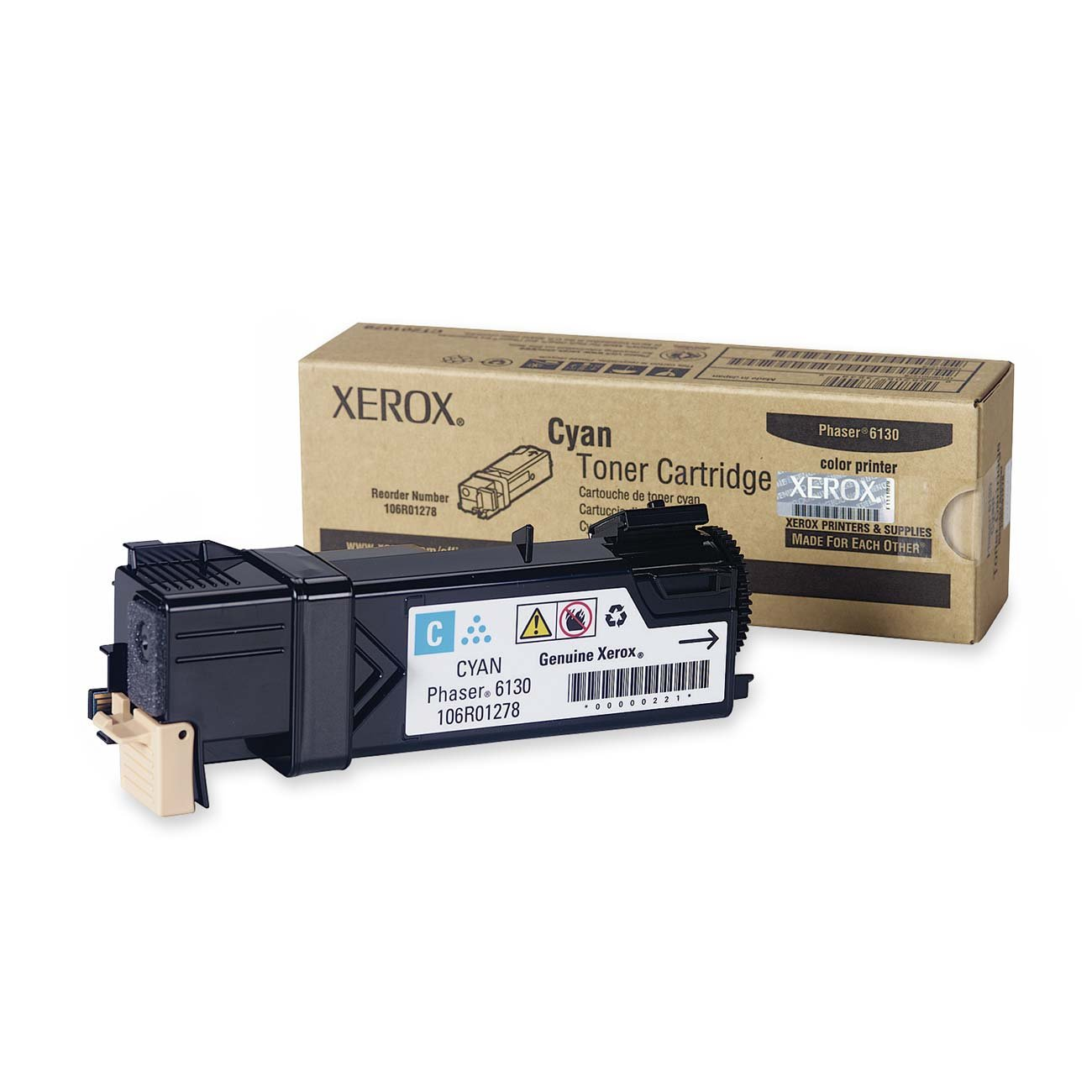 Xerox Phaser 6130 Cyan Standard Capacity Toner Cartridge (1,900 Pages) - 106R01278