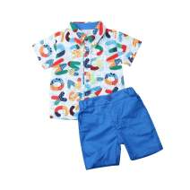 Toddler Boys Gentleman Clothing Set Polo Shirt Suspenders Short Pants Overalls