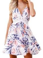 FANCYINN Womens Deep V Spaghetti Strap Lace Backless Floral Patchwork Mini Skater Dresses