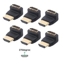 VCE 6-Pack HDMI 270 Degree Male to Female Right Angle Adapter 3D&4K Supported