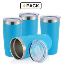 JEAREY 20oz Stainless Steel Tumbler with Lid Double Wall Vacuum Insulated Coffee Travel Mug (4 Pack, Lake Blue)