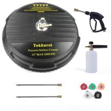 TOKHAROI Universal 16-inch Surface Cleaner for Pressure Washer with 2 Pressure Washer Extension Wand Attachment, Foam Pot, 5 Nozzle Tips, Full Set, 4000 PSI