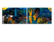 """wall26 - Where Do We Come from? What are We? Where are We Going? by Paul Gauguin - Canvas Print Wall Art Famous Painting Reproduction - 16""""x24"""" x 2 Panels"""