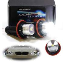 iJDMTOY (2) White LED Angel Eye Ring Marker Bulbs Compatible With BMW 5 6 7 Series X3 X5 (E39 E53 E60 E63 E64 E65 E66 E83), 7000K White