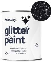 Hemway Silver Glitter Paint 1L Matte Walls Wallpaper Bathroom Furniture Acrylic Latex (Black)