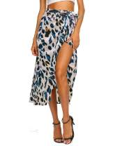 Newchoice Women's Boho Leopard Skirt High Low Split Summer Beach Midi Wrap Skirts