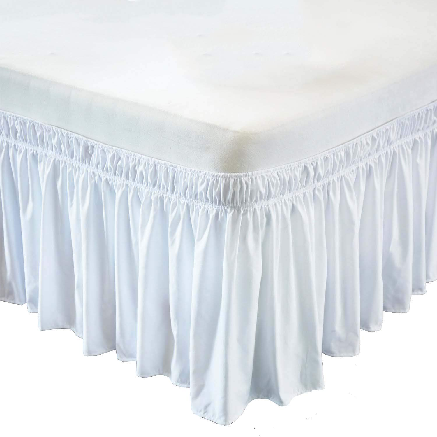 Wrap Around Bed Skirt- 24 Inch Drop Length Style Easy Fit Elastic Bed Ruffles Bed-Skirt Wrinkle Free Bed Skirt - White, King in All Bed Sizes and Colors