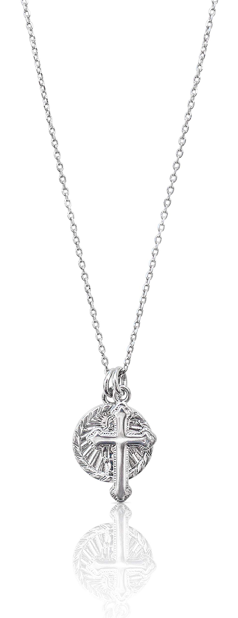 Benevolence LA Cross Necklace with Coin - 14k Pendant Necklace Medal Disc Circle Dainty 18 inch Necklaces for Women - Celebrity Endorsed