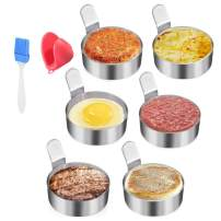 Egg Ring Stainless Steel Omelet Mold Non Stick Cooking Pancake Ring Cooking Tool(3 Inch, 6pack) with 1 Free Oven Glove and 1 Free Oil Bottle Brush.