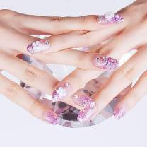 Drecode 24Pcs Glitter Flower False Nails Bling Rhinestone Full cover Fake Nails Wedding Birthday Party Clip on Nails for Women and Girls (Purple)