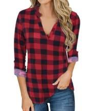 YOINS Women Long Sleeves Tops Button Down Shirts Plaid Blouse Grid Pattern Loose Casual Basic Fashion Shirts
