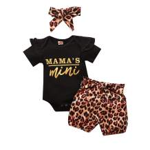 AMAWMW Mamas Mini Baby Girl Outfit Set Ruffled Romper Tops+Leopard Shorts+Headband+Belt