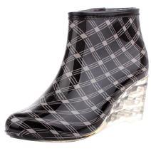 Odema Women's Ankle High Rain Boots Side Zipper Wedge High Heel Waterproof Shoes Winter Snow Wellies Bootie