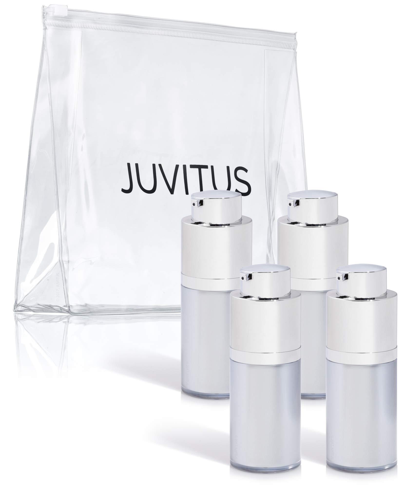 Empty Airless Twist Top Platinum Silver Pump Bottle - 15 ml / 0.5 oz (4 Pack) + Clear Travel Bag