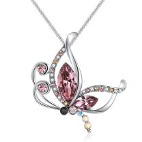 Richapex Butterfly Dream Pendant Necklace Pink/Blue Crystal from Swarovski Gift for Women Birthday Anniversary